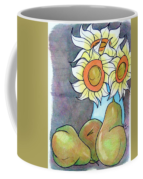 Sunflowers Coffee Mug featuring the drawing Sunflowers And Pears by Loretta Nash