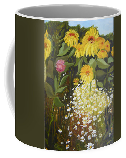 Landskape Coffee Mug featuring the painting Sunflowers by Antoaneta Melnikova- Hillman
