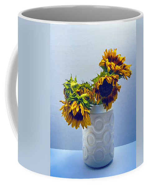 Tournesols Coffee Mug featuring the photograph Sunflowers In Circle Vase Blue Tournesols by William Dey