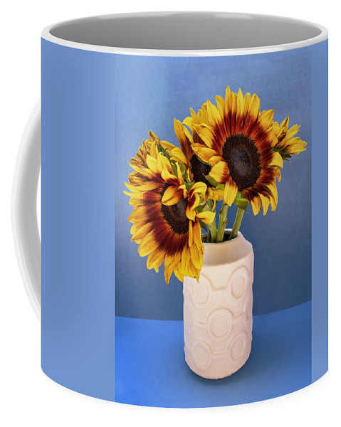 Sunflower Coffee Mug featuring the photograph Sunflowers In Circle Vase Tournesols by William Dey
