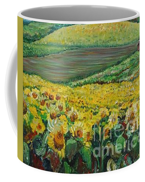 A Field Of Yellow Sunflowers Coffee Mug featuring the painting Sunflowers In Provence by Nadine Rippelmeyer