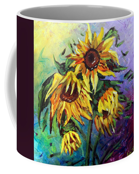 Art Coffee Mug featuring the painting Sunflowers In The Rain by Luiza Vizoli