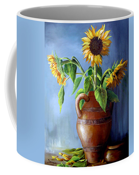 Sunflowers Coffee Mug featuring the painting Sunflowers In Vase by Dominica Alcantara