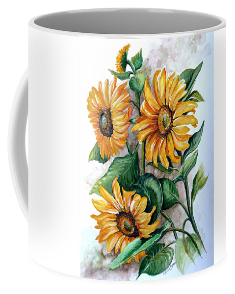 Flower Paintings Yellow Flower Paintings Floral Paintings Botanical Paintings  Sun Flower Paintings Greeting Card Paintings Canvas Paintings Prints Paintings  Coffee Mug featuring the painting Sunflowers by Karin Dawn Kelshall- Best