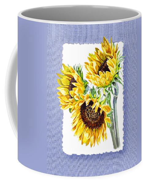 Sunflowers On Baby Blue Coffee Mug featuring the painting Sunflowers On Baby Blue by Irina Sztukowski