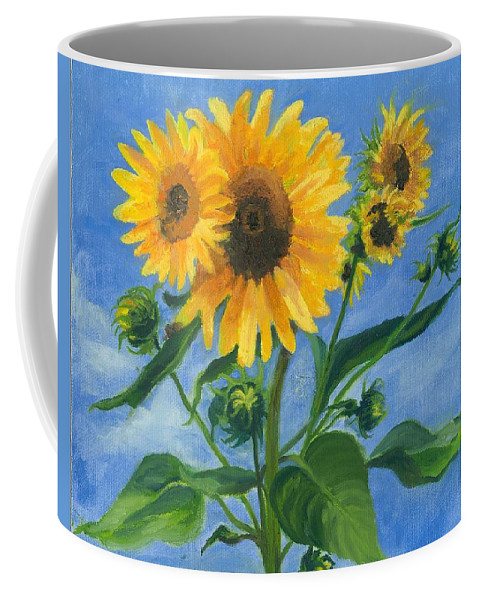 Flowers Coffee Mug featuring the painting Sunflowers On Bauer Farm by Paula Emery