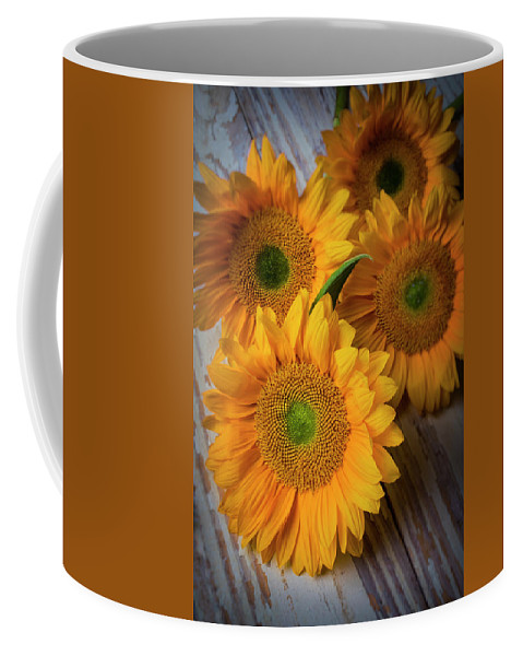 Sunflower Coffee Mug featuring the photograph Sunflowers On White Boards by Garry Gay