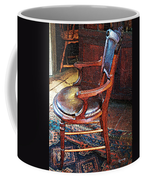 Antiques Coffee Mug featuring the digital art Sunlight On Leather Chair by RC DeWinter