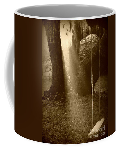 Sepia Coffee Mug featuring the photograph Sunlight On Swing - Sepia by Carol Groenen