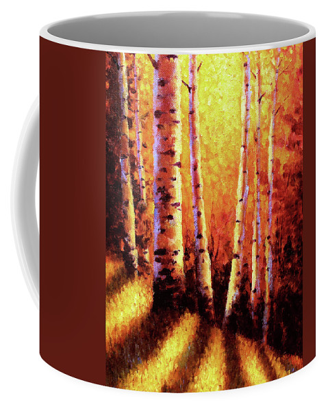 Sunlight Coffee Mug featuring the painting Sunlight Through The Aspens by David G Paul