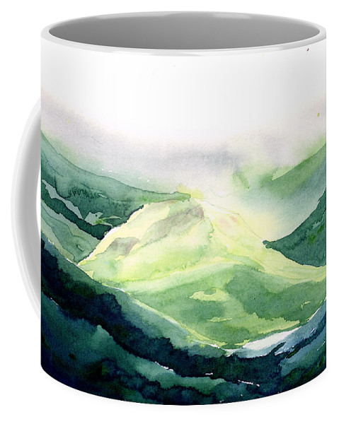 Landscape Coffee Mug featuring the painting Sunlit Mountain by Anil Nene