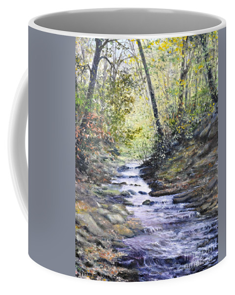 Nature Coffee Mug featuring the painting Sunlit Stream by Penny Neimiller