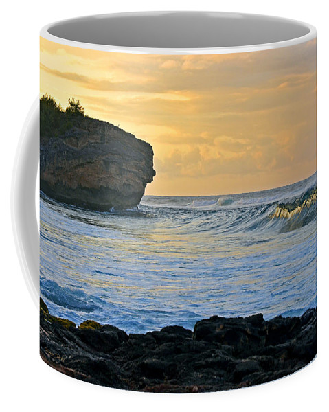 Hawaii Coffee Mug featuring the photograph Sunlit Waves - Kauai Dawn by Marie Hicks