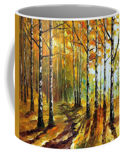 Afremov Coffee Mug featuring the painting Sunny Birches by Leonid Afremov