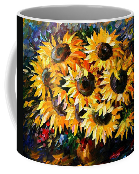 Floral Coffee Mug featuring the painting Sunny Bouquet by Leonid Afremov