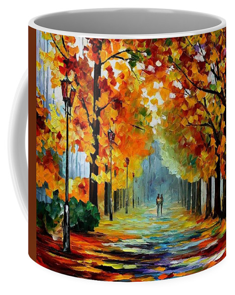 Afremov Coffee Mug featuring the painting Sunny October by Leonid Afremov