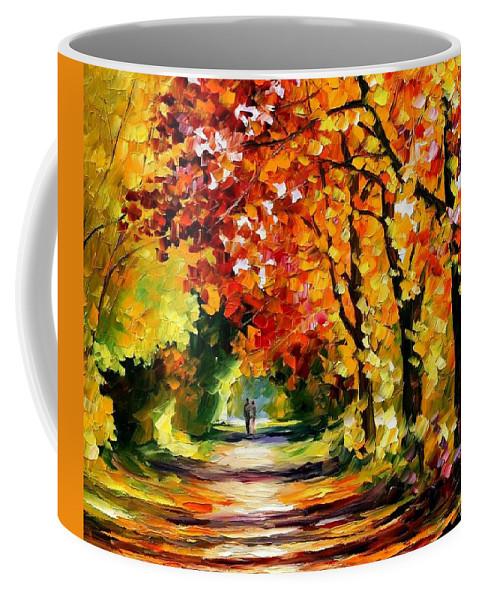 Afremov Coffee Mug featuring the painting Sunny Path by Leonid Afremov