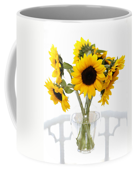 Sunflower Coffee Mug featuring the photograph Sunny Vase Of Sunflowers by Marilyn Hunt