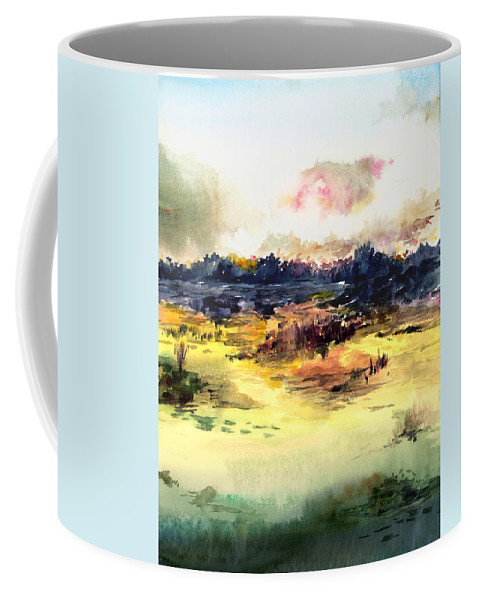 Landscape Water Color Sky Sunrise Water Watercolor Digital Mixed Media Coffee Mug featuring the painting Sunrise by Anil Nene