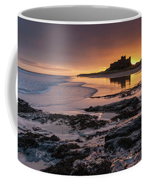 Sunrise Coffee Mug featuring the photograph Sunrise at Bamburgh Castle #4, Northumberland, North East England by Anthony Lawlor