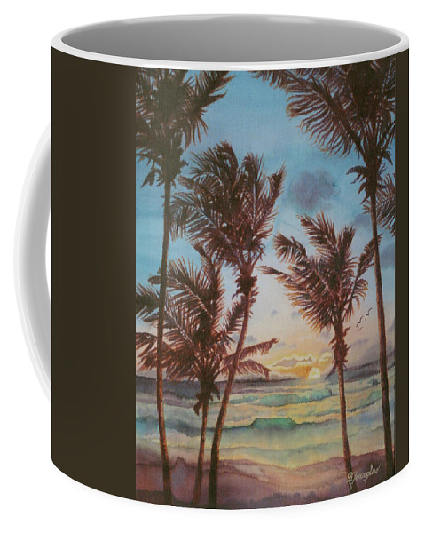 Coconut Tree Coffee Mug featuring the painting Sunrise At Cattlewash 3 by Deborah Younglao
