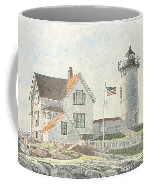 Watercolor Coffee Mug featuring the painting Sunrise At Nubble Light by Dominic White
