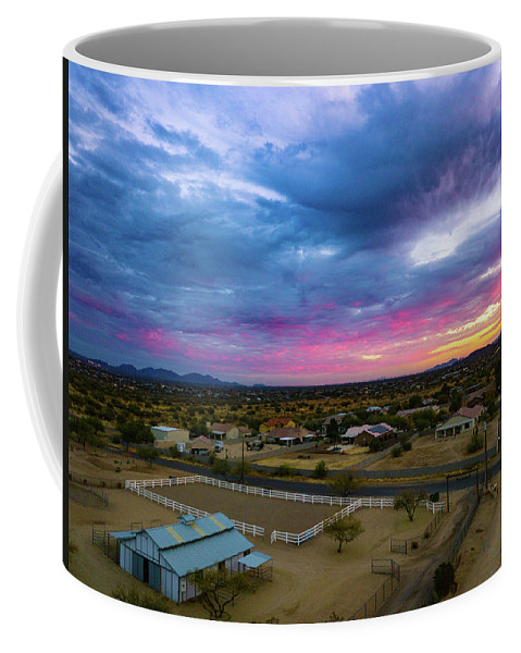 Drone Photography Coffee Mug featuring the photograph Sunrise At The Horse Barn by David Stevens