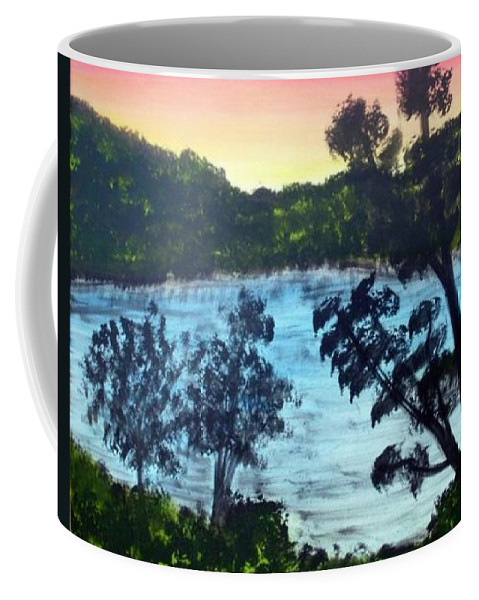Landscape Coffee Mug featuring the painting Sunrise At The Lake by Ervin Sloan