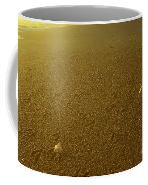 Ocean Coffee Mug featuring the photograph Sunrise Bird Beach Tracks by Sven Brogren