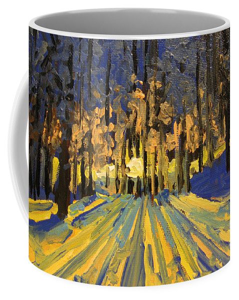Landscape Coffee Mug featuring the painting Sunrise Forest Modern Impressionist Landscape Painting by Patricia Awapara