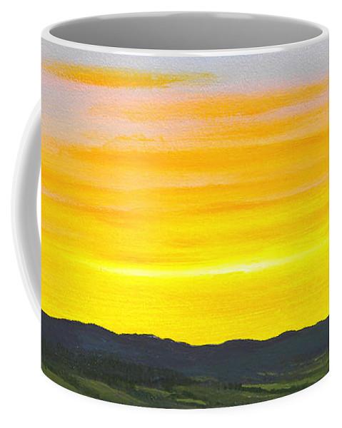 Sunrise Coffee Mug featuring the painting Sunrise by Frank Wilson