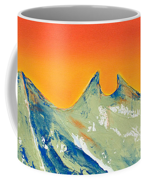 Mountain Painting Coffee Mug featuring the painting Sunrise La Silla by Kandyce Waltensperger