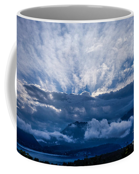 2015 Coffee Mug featuring the photograph Sunrise On Lake Annecy by Brothers Beerens