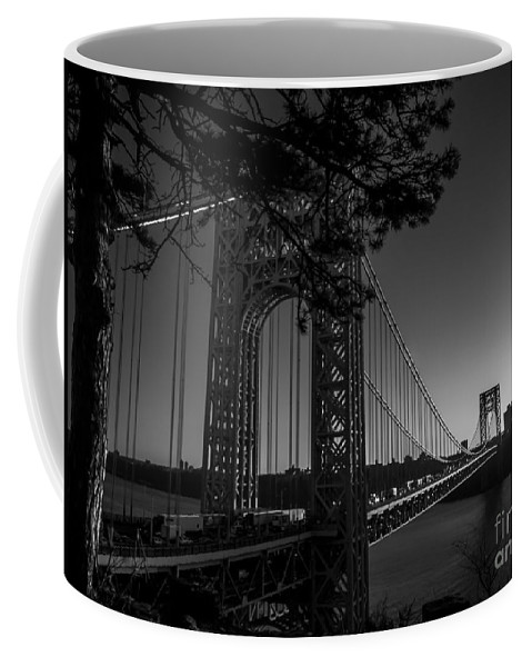 George Washington Bridge Coffee Mug featuring the photograph Sunrise On The Gwb, Nyc - Bw Landscape by James Aiken