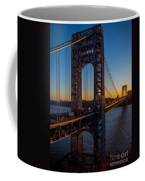 George Washington Bridge Coffee Mug featuring the photograph Sunrise On The Gwb, Nyc - Portrait by James Aiken
