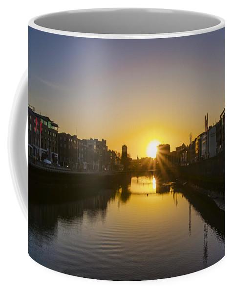 Sunrise Coffee Mug featuring the photograph Sunrise On The Liffey River - Dublin Ireland by Bill Cannon