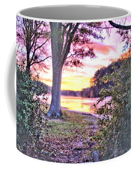 7602 Coffee Mug featuring the photograph Sunrise Over A Misty Pond by Gordon Elwell
