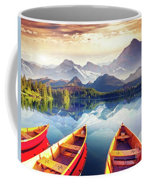 Alp Coffee Mug featuring the photograph Sunrise Over Australian Lake by Thomas Jones