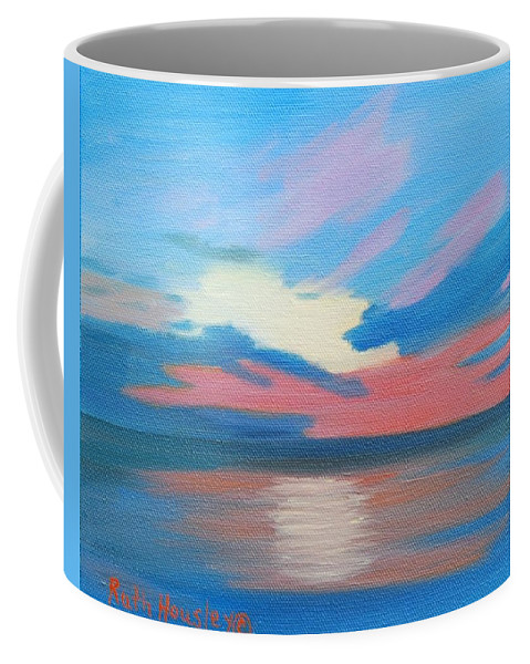 Fine Art Coffee Mug featuring the painting Sunrise Over Ocean City Maryland by Ruth Housley