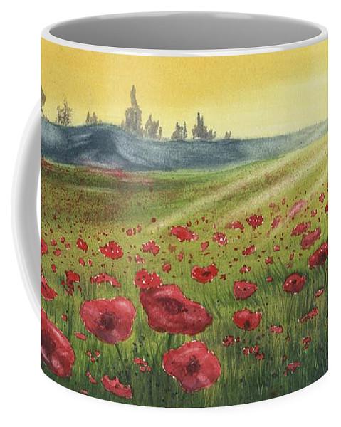 Scene Coffee Mug featuring the painting Sunrise Over Poppies by Antonio Mazzola