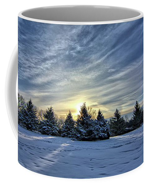 Snow Coffee Mug featuring the photograph Sunrise Pines by Bonfire Photography