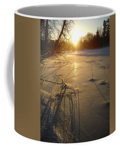 Ice Coffee Mug featuring the photograph Sunrise Reflecting Off Mississippi River Ice by Kent Lorentzen