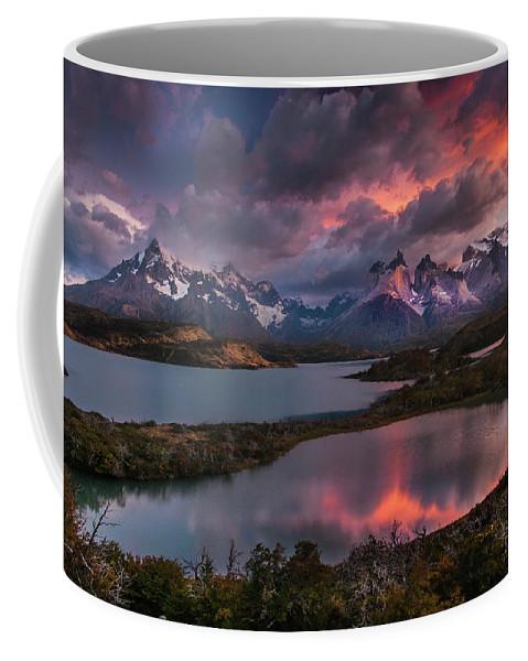 Chile Coffee Mug featuring the photograph Sunrise Spectacular At Torres Del Paine. by Usha Peddamatham