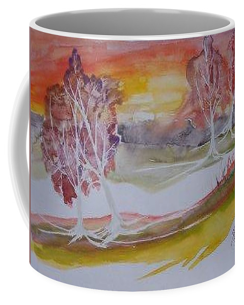 Impressionistic Coffee Mug featuring the painting Sunrise Surreal Modern Landscape Painting Fine Art Poster Print by Derek Mccrea