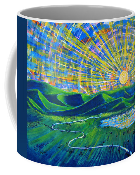 Sun Coffee Mug featuring the painting Sunscape by Rollin Kocsis