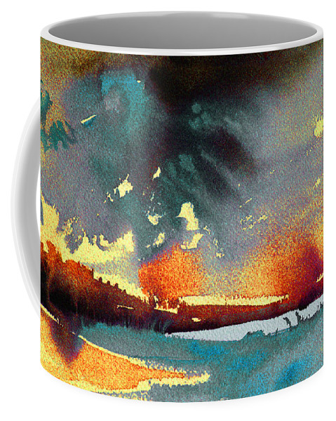 Watercolour Landscape Coffee Mug featuring the painting Sunset 08 by Miki De Goodaboom