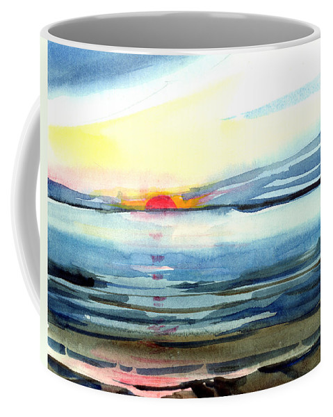 Landscape Seascape Ocean Water Watercolor Sunset Coffee Mug featuring the painting Sunset by Anil Nene