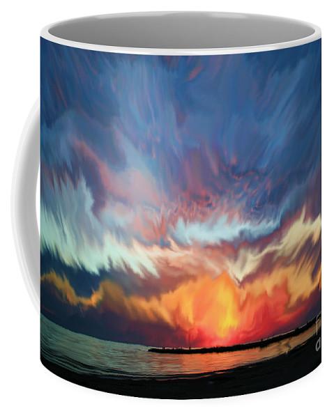 Sunset Coffee Mug featuring the painting Sunset Art Landscape by Justyna JBJart