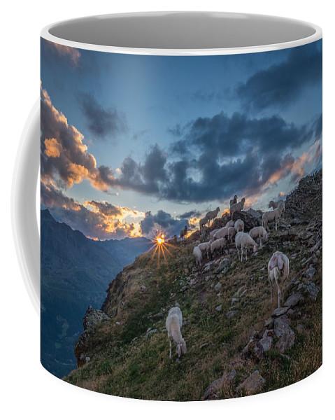 Alpine Coffee Mug featuring the photograph Sunset At Brunnenkogelhaus by Ludwig Riml