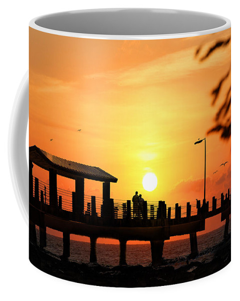 Fort De Soto Coffee Mug featuring the photograph Sunset At Fort De Soto Fishing Pier Pinellas County Park St. Petersburg Florida by Mal Bray